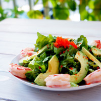 Avocado and Shrimp Salad with Miso Dressing